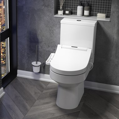 Drench Lorraine Close Coupled Toilet & Cistern with Vellamo Smart Japanese Style Bidet Seat