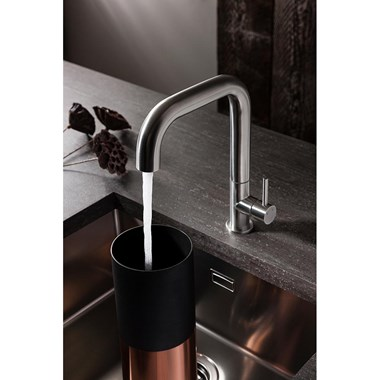 Crosswater Cucina Tube Side Lever Kitchen Mixer - Brushed Stainless Steel