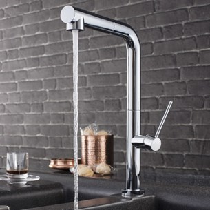 Crosswater Tube Side Lever Kitchen Mixer With Dual Function Spray - Chrome