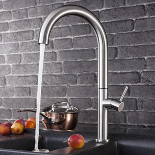 Crosswater Tube Round Tall Side Lever Kitchen Mixer - Stainless Steel
