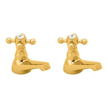 Deva Tudor Basin Taps - Gold