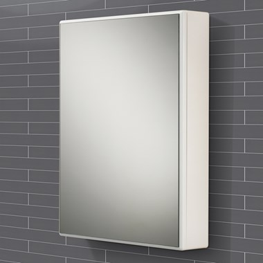 HIB Tulsa Slimline White Gloss Single Door Mirrored Cabinet