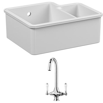 Reginox Tuscany 1.5 Bowl Undermount Ceramic Sink & Waste Kit and Vellamo Victoria Traditional Mono Kitchen Mixer Tap