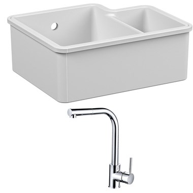 Reginox Tuscany 1.5 Bowl Undermount Ceramic Sink & Waste Kit and Vellamo Savu Mono Pull Out Kitchen Mixer