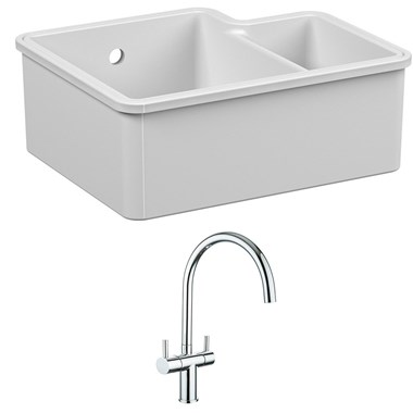 Reginox Tuscany 1.5 Bowl Undermount Ceramic Sink & Waste Kit and Vellamo Caspian Dual Lever Mono Kitchen Mixer