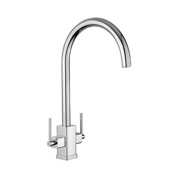 Rangemaster Vertex Twin Lever Mono Kitchen Mixer - Brushed Nickel