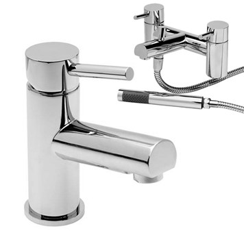 Vellamo Twist Basin Mixer and Bath Shower Mixer Pack