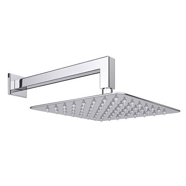 Vellamo Ultra Thin Square 200mm Shower Head & Wall Mounted Arm