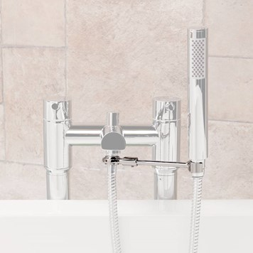 Universal Tap-Mounted Shower Handset Holder for Bath Shower Mixer Taps  - Round