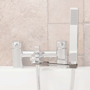 Universal Tap-Mounted Shower Handset Holder for Bath Shower Mixer Taps  - Square