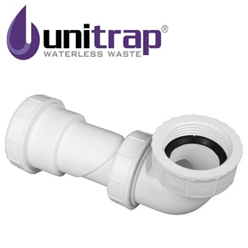 Uniwaste Waterless Waste Space-Saving Trap for Basins, Baths & Bidets