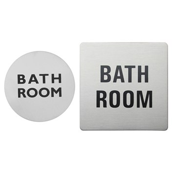 Urban Steel Brushed Stainless Steel Bathroom Sign - Round or Square