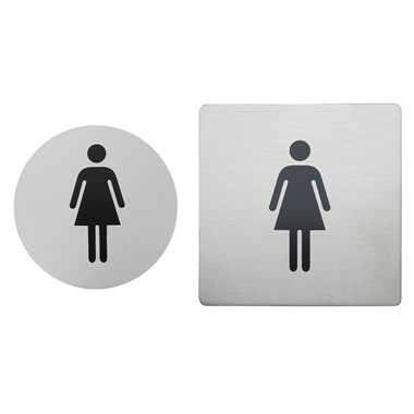 Urban Steel Brushed Stainless Steel Female Sign - Round or Square