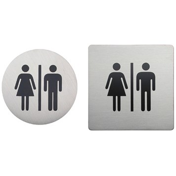 Urban Steel Brushed Stainless Steel Male/Female Sign - Round or Square