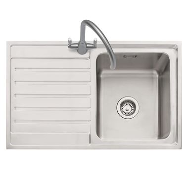 Caple Vanga 1 Bowl Satin Stainless Steel Sink & Waste Kit with Left Hand Drainer - 800 x 500mm
