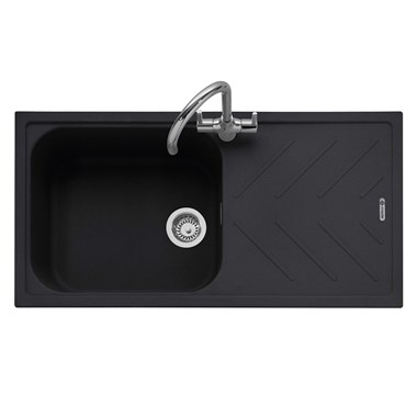 Caple Veis 1 Bowl Anthracite Granite Composite Kitchen Sink & Waste Kit with Reversible Drainer - 1000 x 500mm