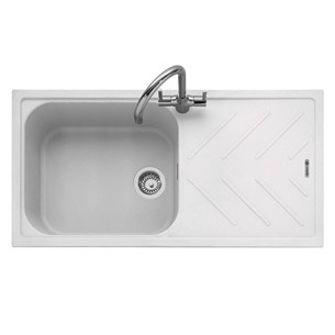 Caple Veis 1 Bowl Chalk White Granite Composite Kitchen Sink & Waste Kit with Reversible Drainer - 1000 x 500mm