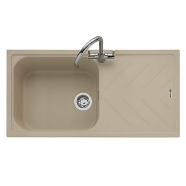Caple Veis 1 Bowl Desert Sand Granite Composite Kitchen Sink & Waste Kit with Reversible Drainer - 1000 x 500mm