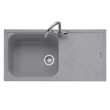 Caple Veis 1 Bowl Pebble Grey Granite Composite Kitchen Sink & Waste Kit with Reversible Drainer - 1000 x 500mm
