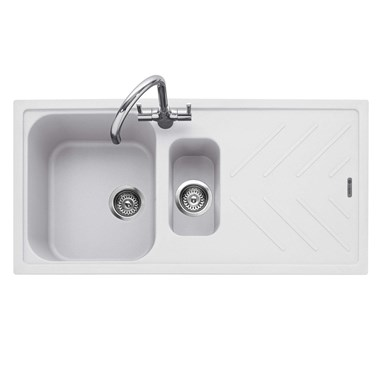 Caple Veis 1.5 Bowl Chalk White Granite Composite Kitchen Sink & Waste Kit with Reversible Drainer - 1000 x 500mm