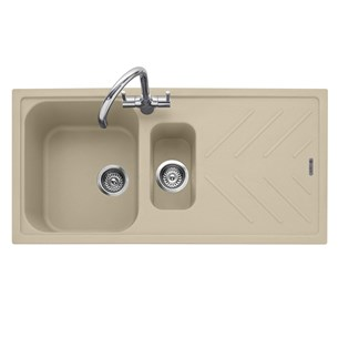 Caple Veis 1.5 Bowl Desert Sand Granite Composite Kitchen Sink & Waste Kit with Reversible Drainer - 1000 x 500mm