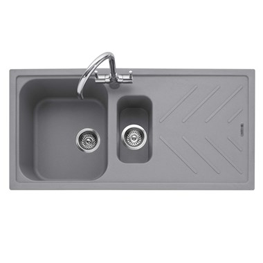 Caple Veis 1.5 Bowl Pebble Grey Granite Composite Kitchen Sink & Waste Kit with Reversible Drainer - 1000 x 500mm