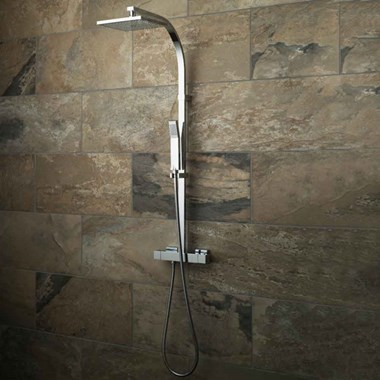 Vado Velo Square Thermostatic Shower Valve with Integrated Diverter & Rigid Riser Rail Kit
