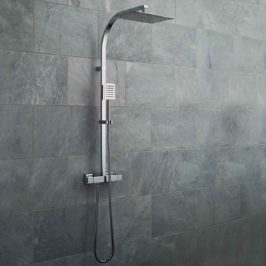 Vado Velo Aquablade Square Thermostatic Shower Valve with Diverter & Rigid Riser Kit