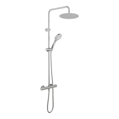 Vado Velo Atmosphere Round Thermostatic Shower Valve With Integrated Diverter And Rigid Riser With Single Function Air Injected Shower Head And Shower Handset