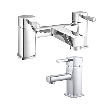 Vellamo Quadro Basin Mixer & Bath Filler Value Pack