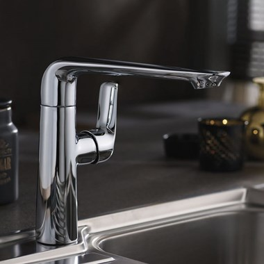 Vellamo Ascent Swivel Kitchen Sink Mixer Tap - Chrome