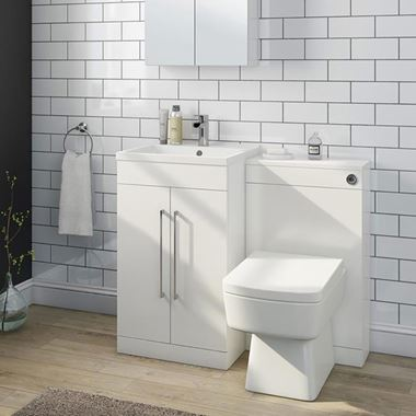 Vellamo Aspire 1000mm 2 Door Combination Basin & Toilet Unit - Gloss White