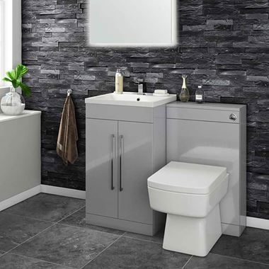 Vellamo Aspire 1000mm 2 Door Combination Basin & Toilet Unit - Gloss Grey