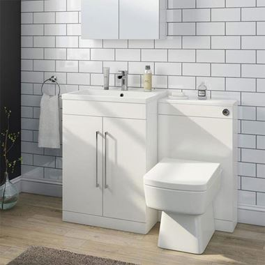 Vellamo Aspire 1100mm 2 Door Combination Basin & Toilet Unit - Gloss White