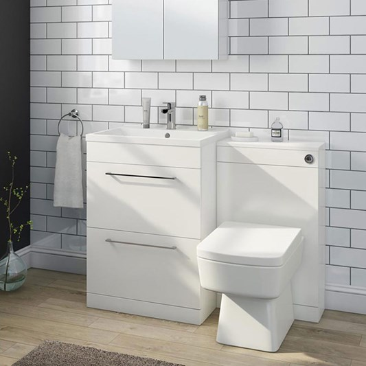 Vellamo Aspire 1100mm 2 Drawer Combination Basin & Toilet Unit - Gloss White