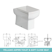 Harbour Icon 900mm Spacesaving White Gloss Left Combination Bathroom Toilet, Sink Unit & Vellamo Aspire Toilet with SC Seat