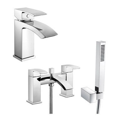 Vellamo City Waterfall Basin Mixer & Bath Shower Mixer Pack