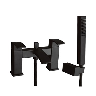 Vellamo City Matt Black Bath Shower Mixer & Kit