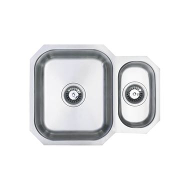 Vellamo Classic 1.5 Bowl Undermount Stainless Steel Kitchen Sink & Waste Kit with Reversible Half Bowl - 595 x 460mm