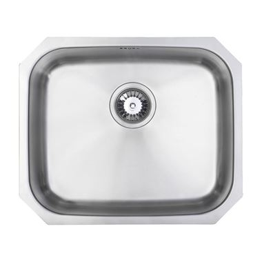 Vellamo Classic Large 1 Bowl Undermount Stainless Steel Kitchen Sink & Waste Kit - 530 x 450mm