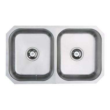 Vellamo Classic Double Bowl Undermount Stainless Steel Kitchen Sink & Waste Kit - 780 x 460mm