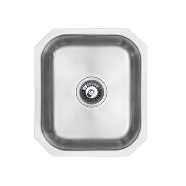Vellamo Classic Compact 1 Bowl Undermount Stainless Steel Kitchen Sink & Waste Kit - 380 x 440mm