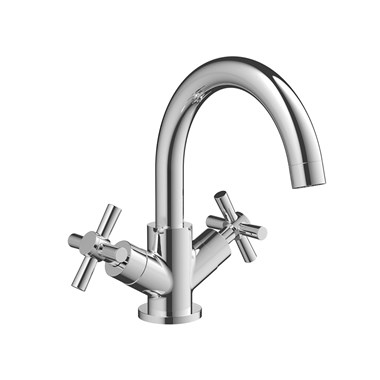 Vellamo Cross Monobloc Basin Mixer with Clicker Waste