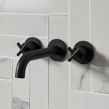 Vellamo Cross Matt Black Crosshead Wall Mounted Tap & Easy Installation Kit