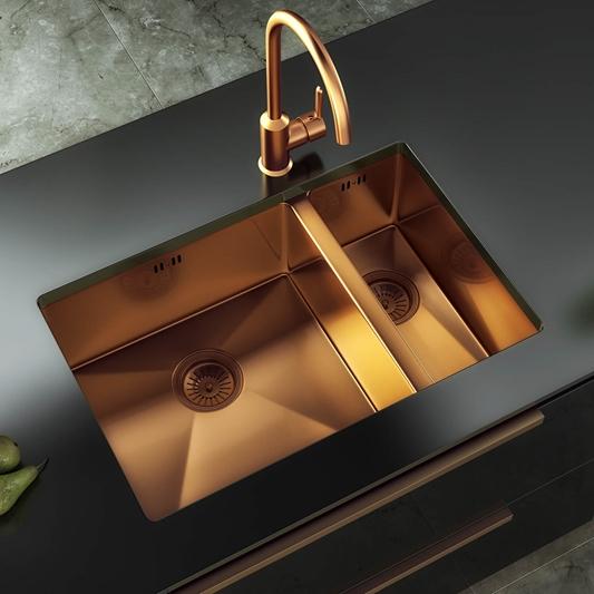 Vellamo Designer 1 5 Bowl Inset Undermount Brushed Copper Stainless Steel Kitchen Sink Waste 670 X 440mm Tap Warehouse