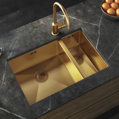 Vellamo Designer 1.5 Bowl Inset/Undermount Brushed Gold Stainless Steel Kitchen Sink & Waste - 670 x 440mm