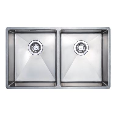 Vellamo Designer Double Bowl Undermount Stainless Steel Kitchen Sink & Waste Kit - 750 x 440mm