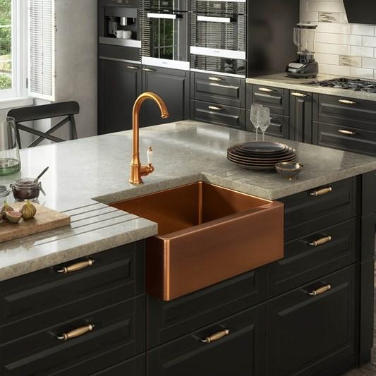 Vellamo Designer Belfast Single Bowl Brushed Copper