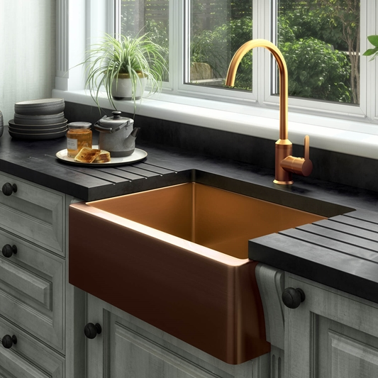 Vellamo Designer Belfast Single Bowl Brushed Copper Stainless Steel Kitchen Sink Waste 600 X 450mm Tap Warehouse