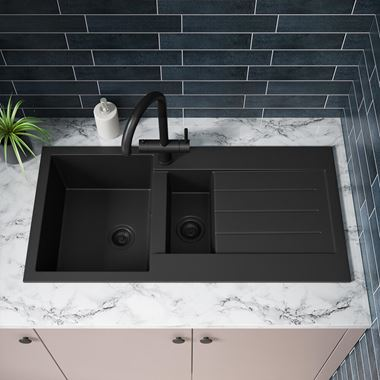 Vellamo Designer 1.5 Bowl Matt Black Comite Composite Kitchen Sink & Waste with Reversible Drainer - 1000 x 500mm